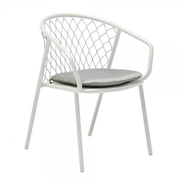 """Weißer Armlehnstuhl """"Nef"""" mit hellgrauem Sitzkissen"""