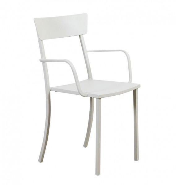 Weißer Metallstuhl - wetterfestes Outdoor-Möbel