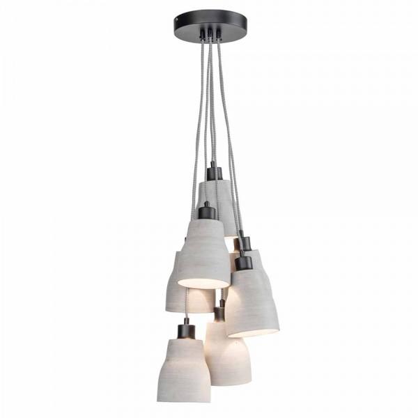 """Graue Hängeleuchte """"Claas"""" aus künstlichem Stein - mit 7 Lampenschirmen"""