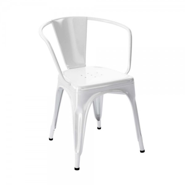 """Tolix Armlehnstuhl """"Chaise A"""" aus glänzendem Stahl - in Weiß"""