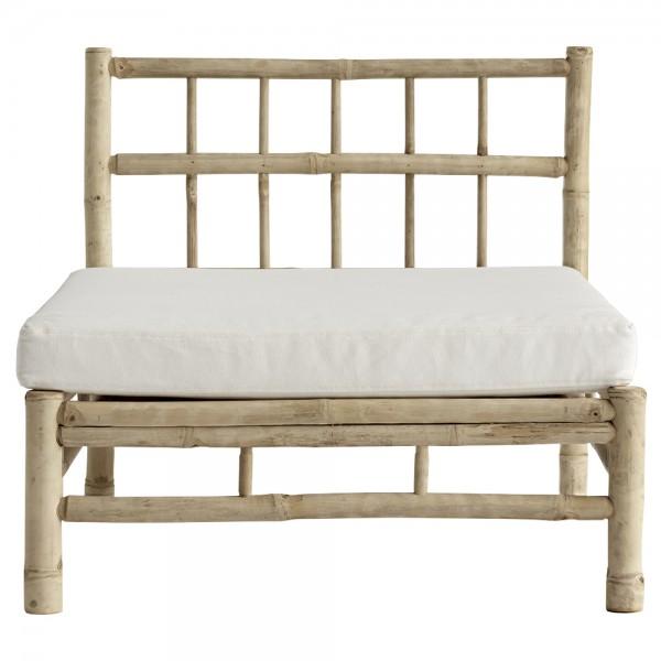 """Modul-Sofa """"Banto"""" aus Bambus mit weißem Sitzkissen"""