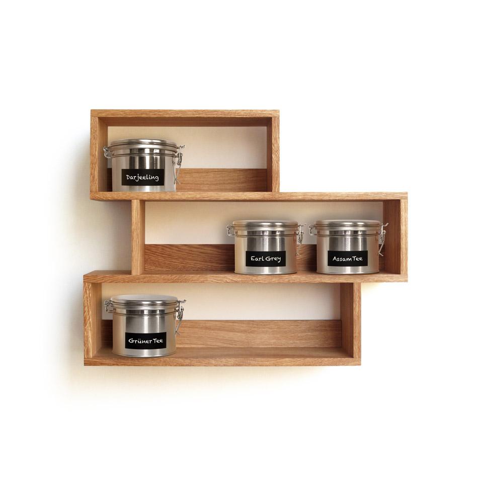 teeregal aus holz regal von side by side design. Black Bedroom Furniture Sets. Home Design Ideas