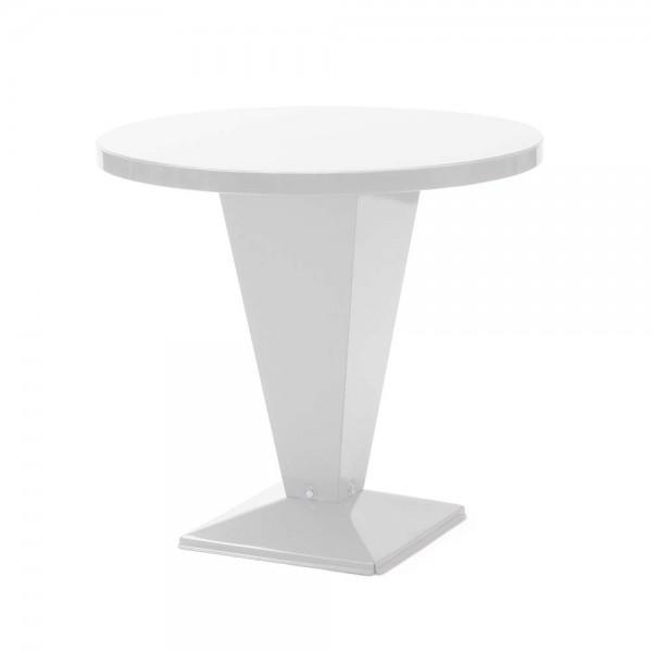 """Tolix Bistrotisch """"Table Kub"""" aus glänzendem, weißem Stahl"""