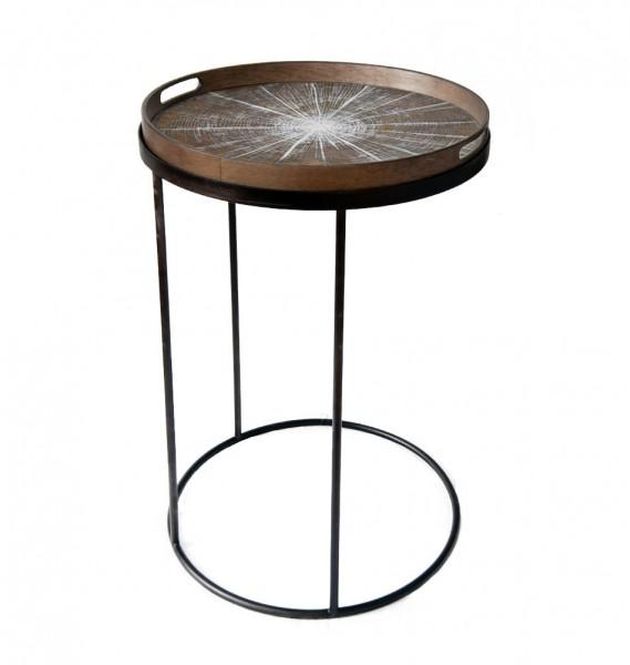 """Tabletttisch """"Baumstamm"""" klein - aus Treibholz und Metall"""
