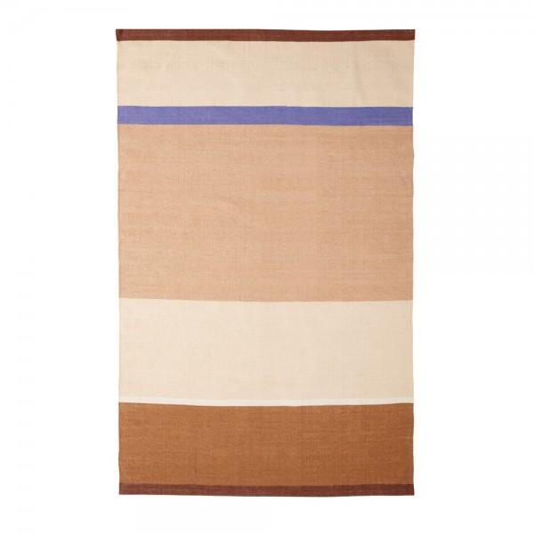 """Baumwollteppich """"Marlitt"""" von Hübsch interior mit braunen, beigen und blauen Streifen"""