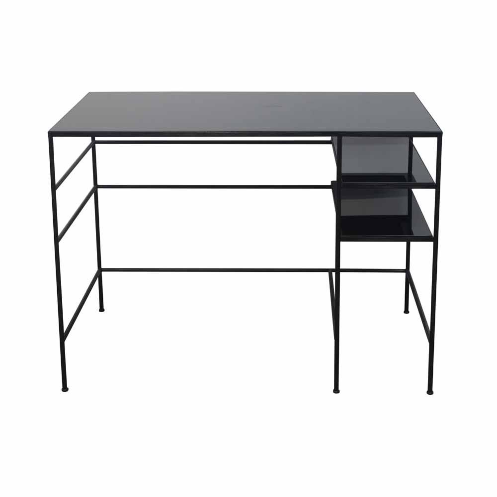 schwarzer schreibtisch mit glas bei. Black Bedroom Furniture Sets. Home Design Ideas