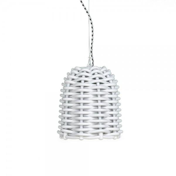 Designer Korblampe in Weiß