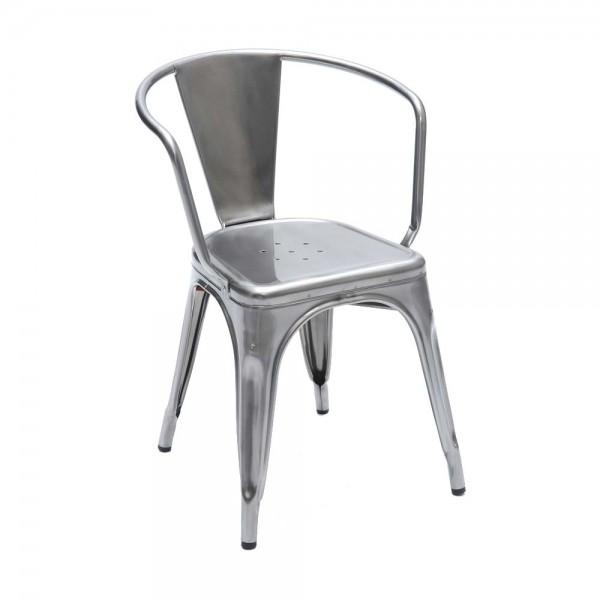 "Tolix Armlehnstuhl ""Chaise A"" aus glänzendem Stahl"