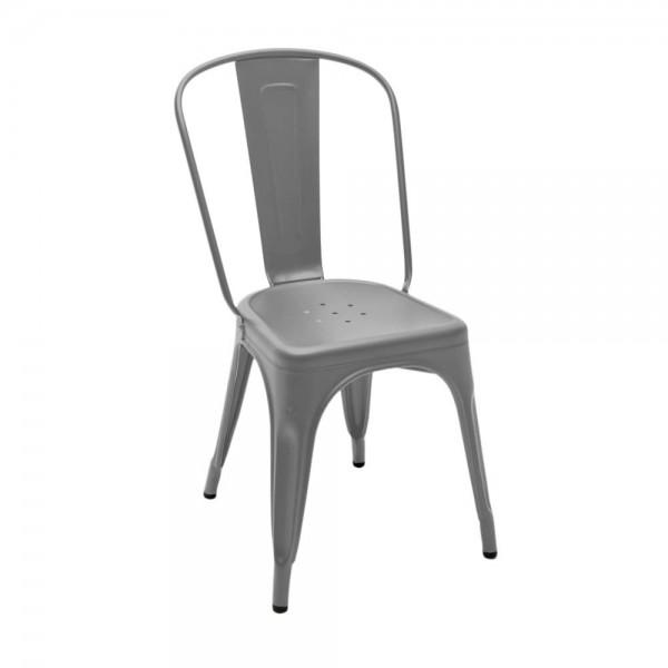 "Tolix ""Chaise A"" - Designerstuhl aus mattem, grauem Stahl"