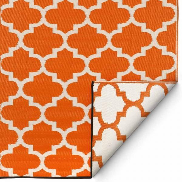 """Kunststoffteppich """"Tangier"""" in Orange-Weiß"""