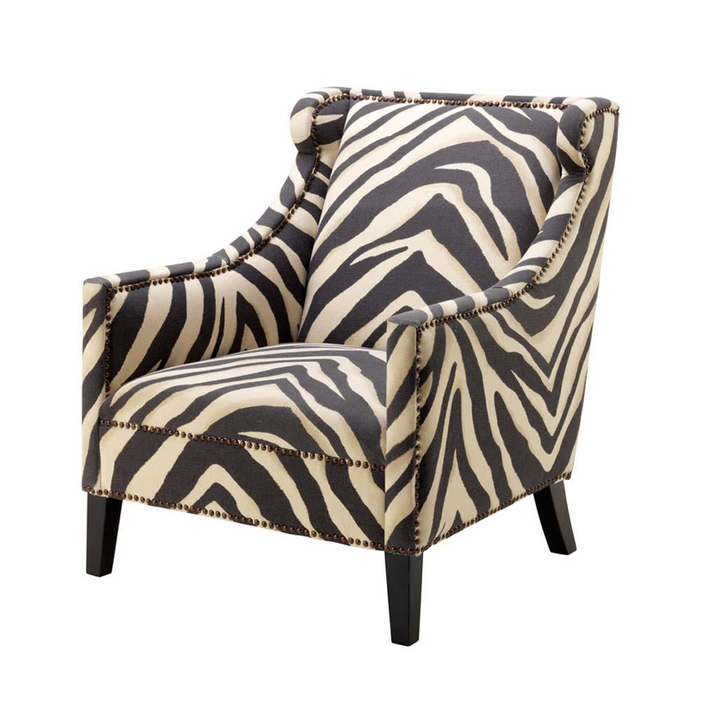 Sessel zebra polsterm bel von eichholtz for Ohrensessel natur