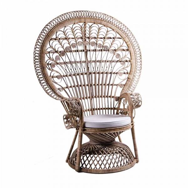 Prachtvoller Rattanstuhl mit Sitzkissen