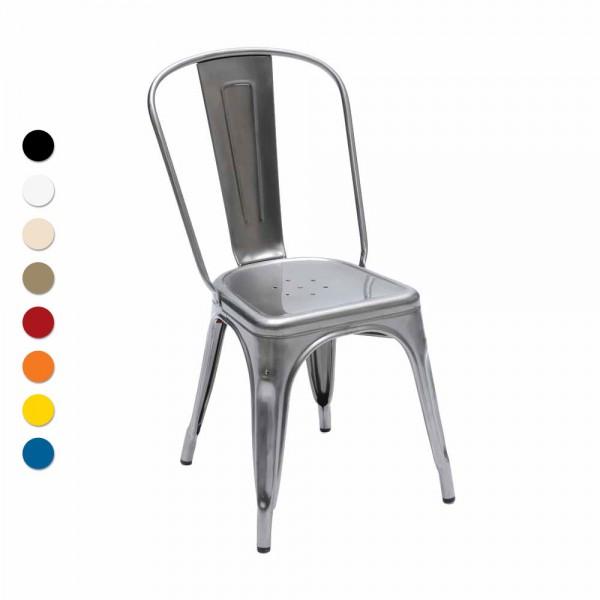 "Tolix Stuhl ""Chaise A"" aus glänzendem Stahl"