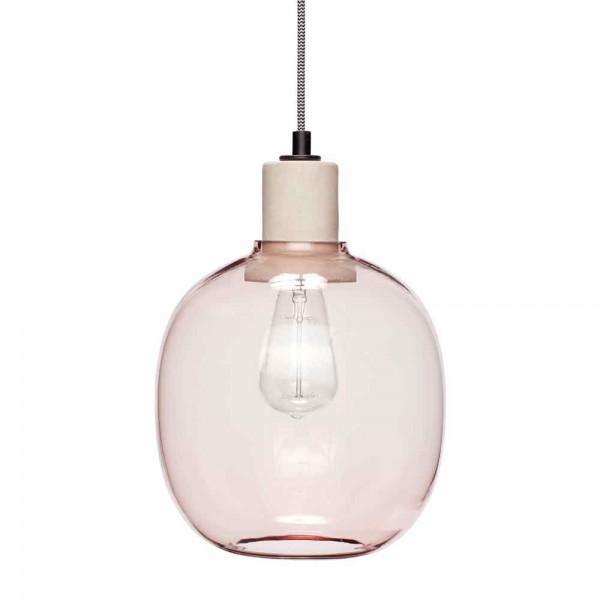 """Hübsch interior Hängelampe """"Joel"""" - aus getöntem rosa Glas"""