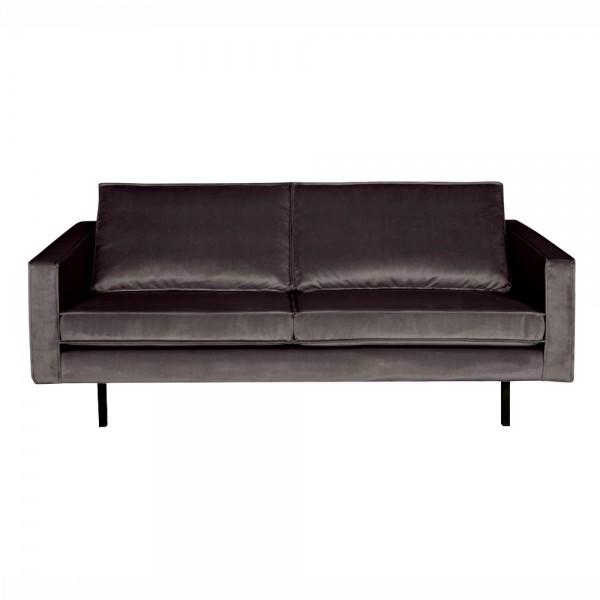 "Samt-Sofa ""Reka in Dunkelgrau - 2,5- Sitzer im Retro-Stil"