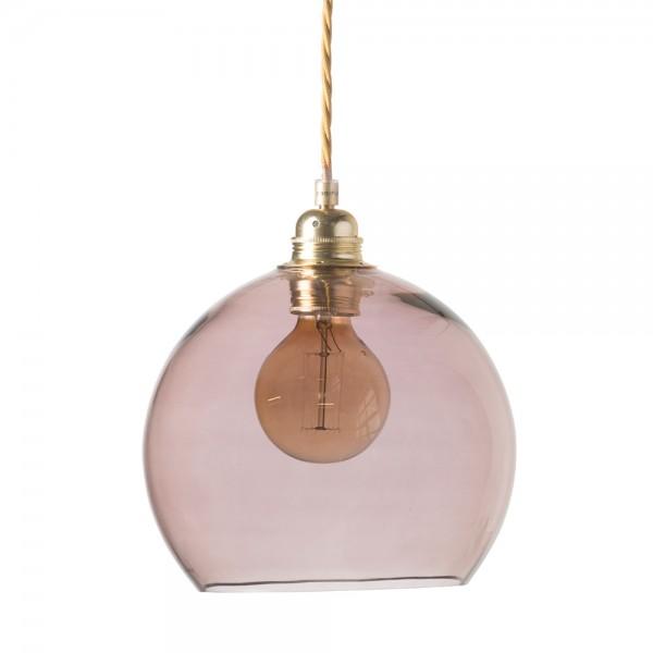 """Hängeleuchte """"Rona"""" mit goldfarbenem Kabel - rosa Glas"""