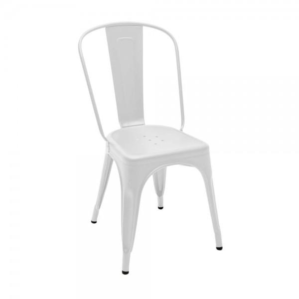 """Tolix """"Chaise A"""" - Designerstuhl aus mattem, weißem Stahl"""