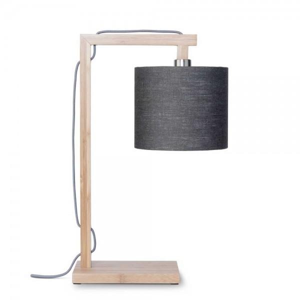 """Tischlampe """"Hedy"""" mit Bambus und Leinen in Grau"""