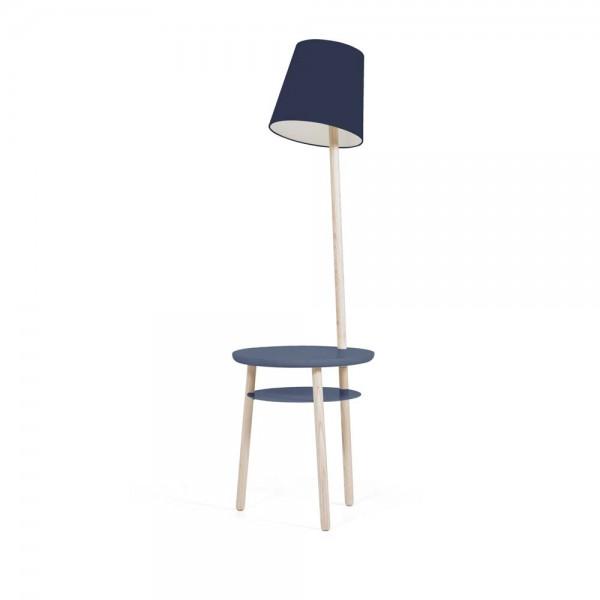 """Hartô Beistelltisch """"Josette"""" - Lampe und Ablage in Blau"""