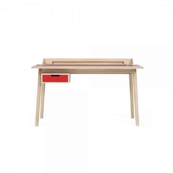 """Hartô Schreibtisch """"Honoré"""" - aus Eiche mit rotem Metall"""