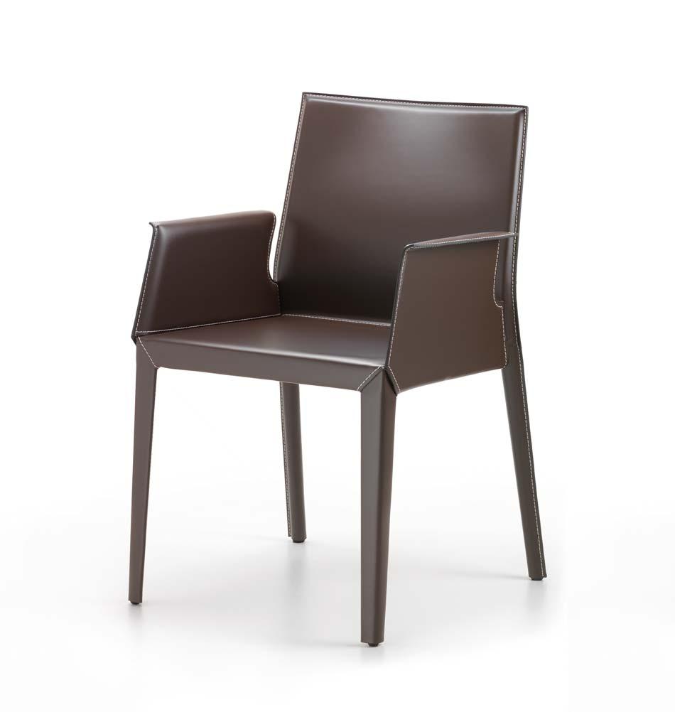 lederstuhl mit armlehne modernes design aus italien. Black Bedroom Furniture Sets. Home Design Ideas