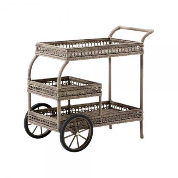 """Teewagen """"Leonhard"""" aus Polyrattan - in Taupe"""