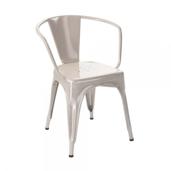 """Tolix Armlehnstuhl """"Chaise A"""" aus glänzendem Stahl - in Creme"""