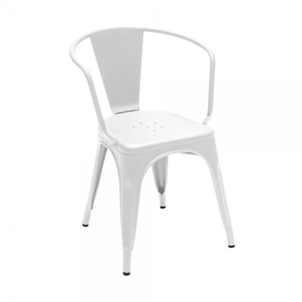 """Armlehnstuhl """"Chaise A56"""" aus mattem Stahl - in Weiß"""