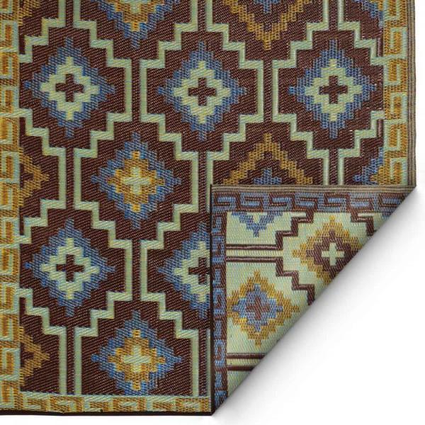 """Kunststoffteppich """"Lhasa"""" in Blau-Braun"""