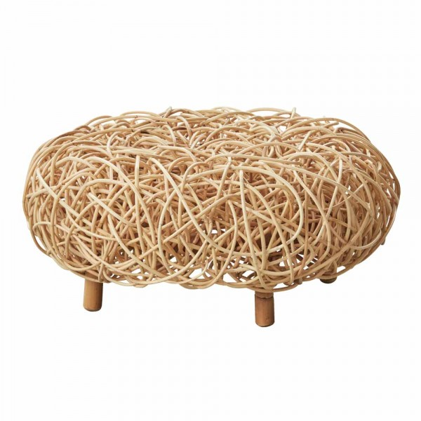 "Hocker ""Loop"" aus Rattan in Natur"