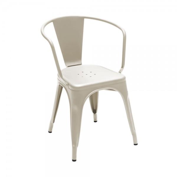"""Armlehnstuhl """"Chaise A56"""" aus mattem Stahl - in Creme"""