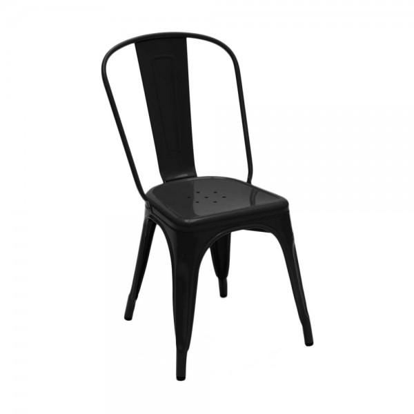"""Tolix Stuhl """"Chaise A"""" aus glänzendem Stahl - in Schwarz"""