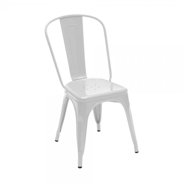 """Tolix Stuhl """"Chaise A"""" aus glänzendem Stahl -in Weiß"""