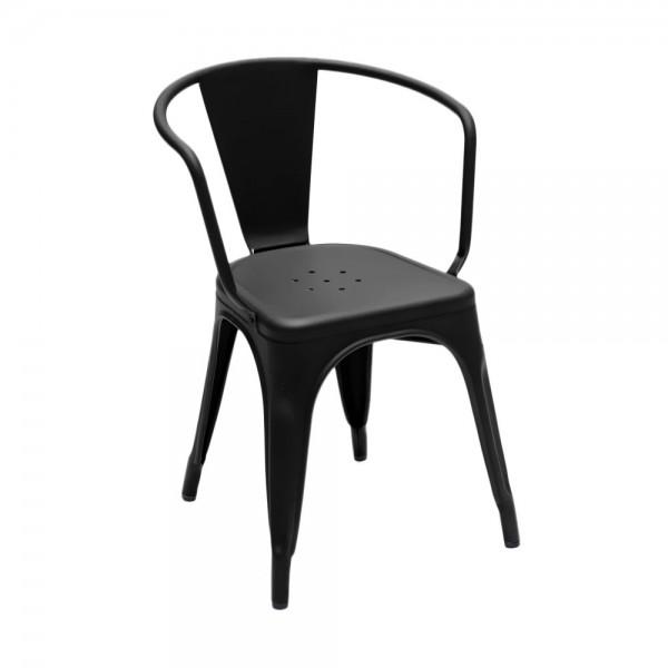 """Armlehnstuhl """"Chaise A56"""" aus mattem Stahl - in Schwarz"""