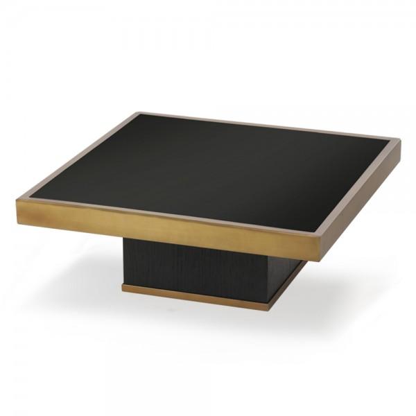 """Schwarzer Desigertisch """"Trifecta"""" aus Glas und Holz"""