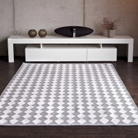 Grau weiss teppich  Baumwollteppiche - Läufer und runde Teppiche