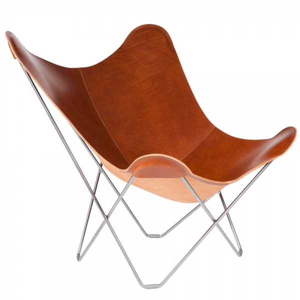 """Brauner Butterfly-Chair """"Pampa Mariposa"""" mit verchromten Gestell"""