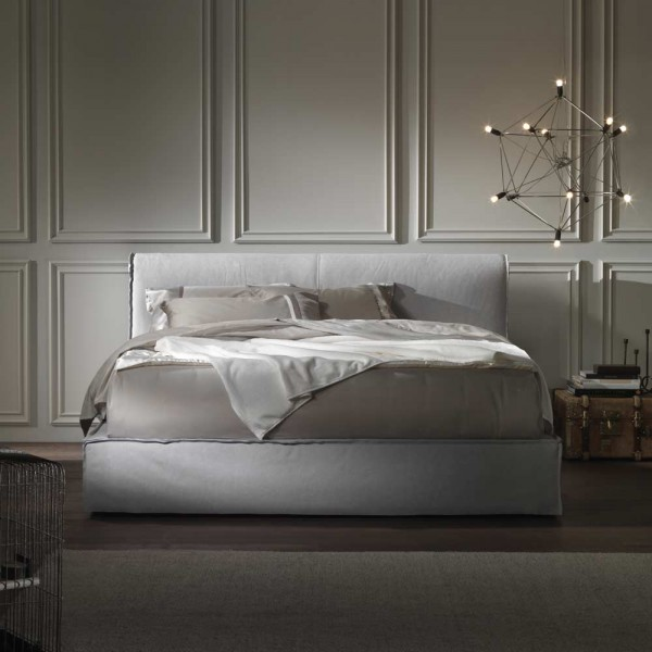 """Polsterbett """"Kilkenny"""" - aus weißem Leder und mit Bettkasten"""
