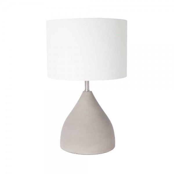 """Tischlampe """"Helka"""" aus Beton - mit weißem Lampenschirm"""