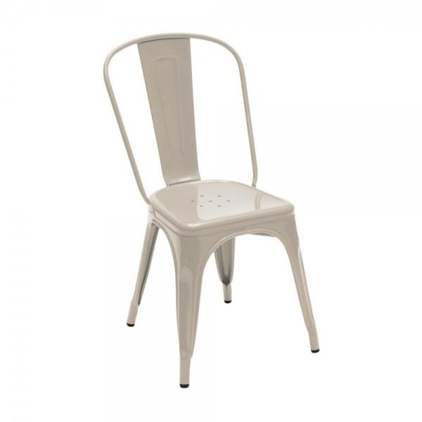 """Tolix Stuhl """"Chaise A"""" aus glänzendem Stahl -in creme"""