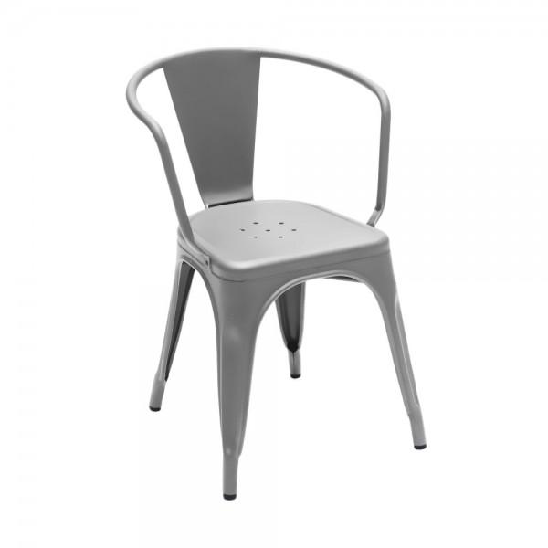 """Armlehnstuhl """"Chaise A56"""" aus mattem Stahl - in Grau"""