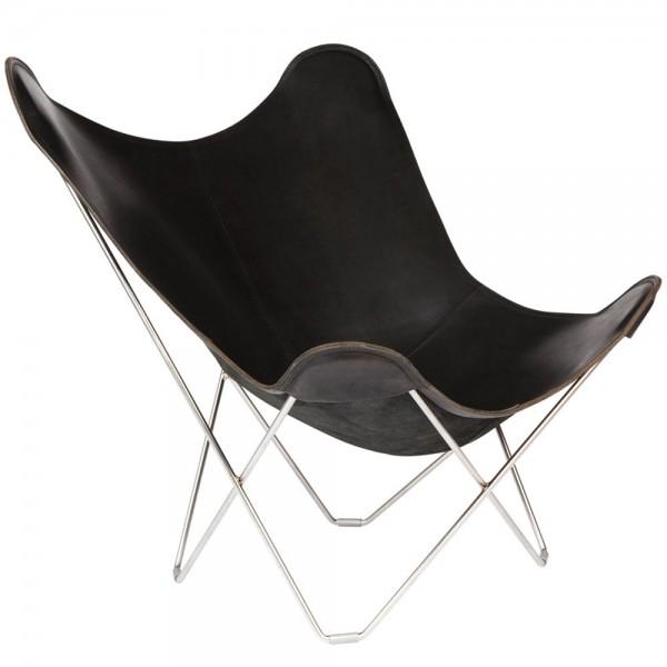 """Schwarzer Butterfly Chair """"Pampa Mariposa"""" von Cuero mit verchromtem Gestell"""
