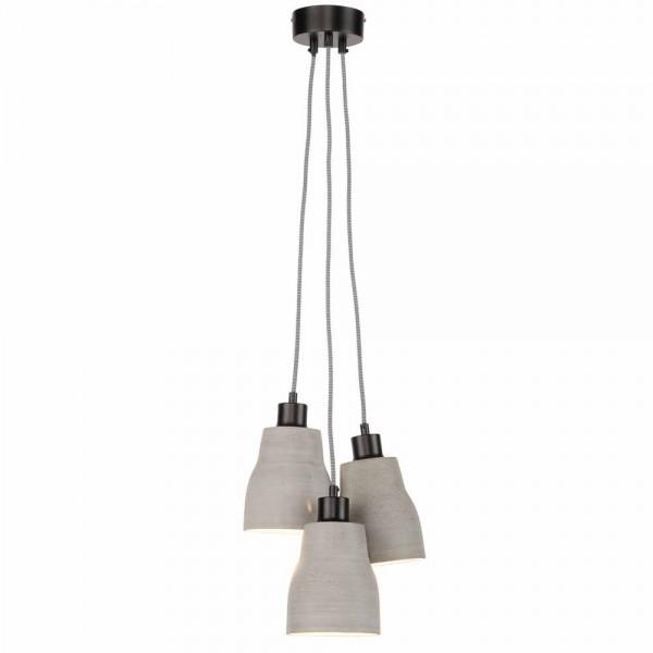 """Graue Hängeleuchte """"Claas"""" aus Kunststein - mit 3 Lampenschirmen"""