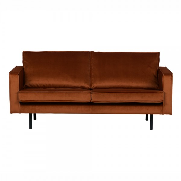 "Samt-Sofa ""Reka in Rostrot - 2,5- Sitzer im Retro-Stil"