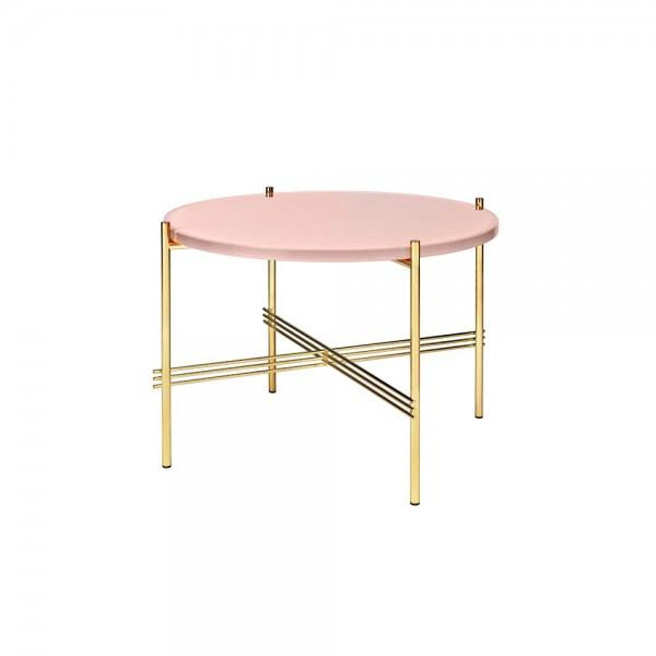 """Der GUBI Couchtisch """"Gamfratesi"""" M ist ein farbiger Begleiter für Ihr Sofa. Das goldfarbene Gestell besteht aus Metall, das mit Messing überzogen ist. Der besondere Hingucker sind die sich kreuzenden Dreier-Streben, die die vier Füße verbinden. Die farbig"""