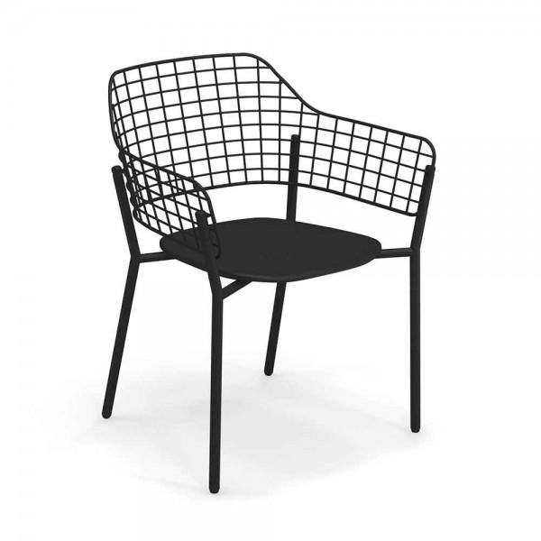 """Schwarzer Armlehnstuhl """"Lyze"""" aus Alu und Stahl"""