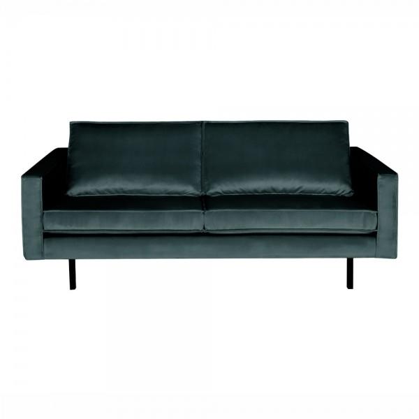 "Samt-Sofa ""Reka in Petrol - 2,5- Sitzer im Retro-Stil"