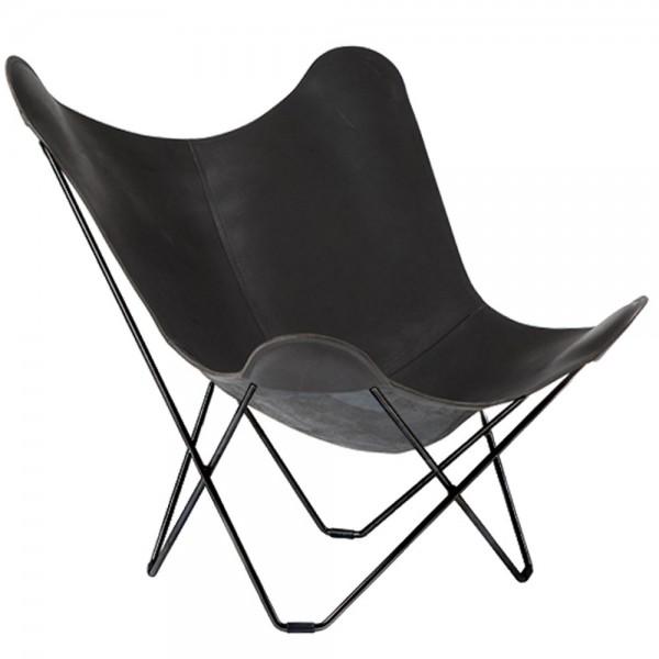 """Butterfly Chair """"Pampa Mariposa"""" von Cuero aus schwarzem Leder"""
