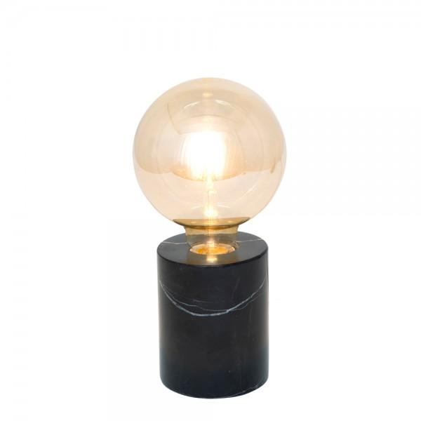 """Kleine Tischlampe """"Fan"""" aus schwarzem Metall und transparentem Glas"""