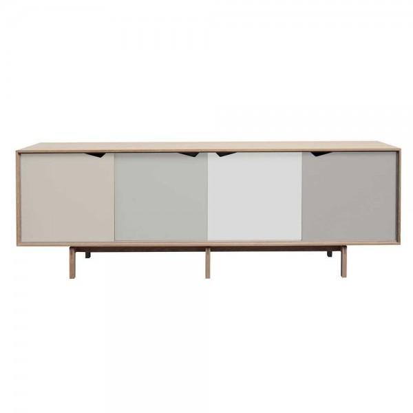 """Sideboard """"S1"""" mit Fronten in Weiß, Grau und Natur"""